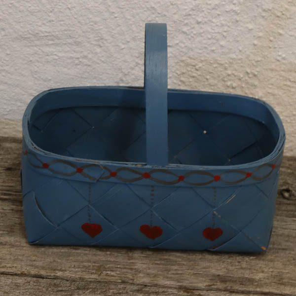 Flettet kurv - med hank - i spån - blåt - 23,5x14x10 cm