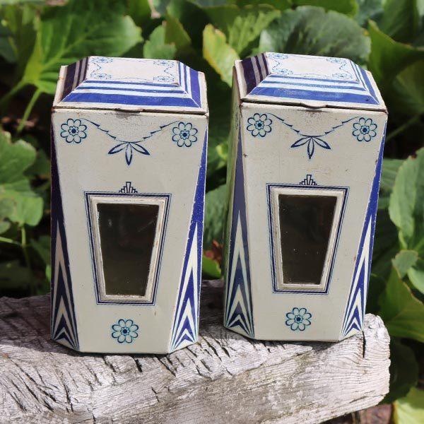 Blå hvid dåser - art deco stil - 10x10x19 cm
