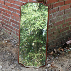Teak spejl - buet kant - retro - 38x86x1,5 cm