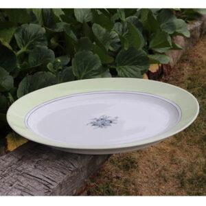 Stort B&G fad 643 ovalt 47x33x6 cm mintgrøn hvidt