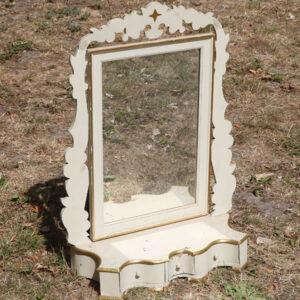 Spejl med skuffe - Pigtitare - hvidt - 50x20x70 cm