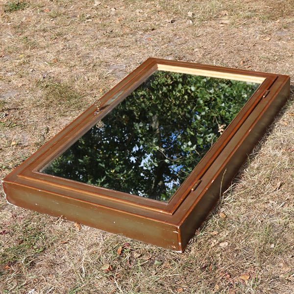 Spejl - tidligere våbenskab - hyldepotentiale - grøn filt inde i - B65xH105x10 cm D