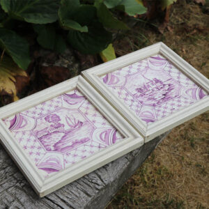 Fliser billeder med rammer 18x18x1,5 cm råhvid kant lilla