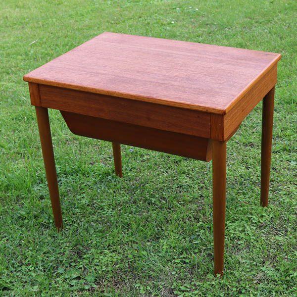 Teak sybord med teak rund skuffe 58x41x51 cm