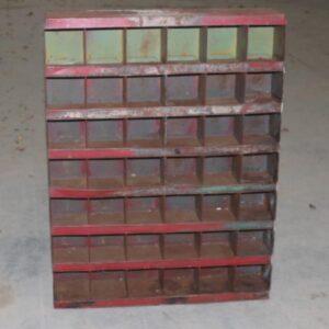 Metalreol rød rust og grønligt 70x14x93 cm