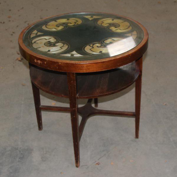 Funkis lavt bord med glasplade Ø 58x56 cm