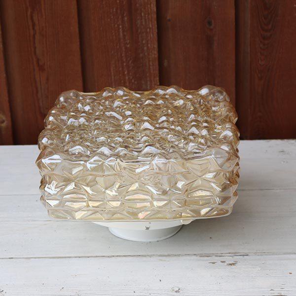 Retro loftlampe brunlig glas 23x23x16 cm