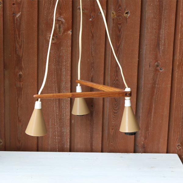 Teak loftlampe tre i 37x26 cm