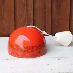 Loftlampe - retro - rød med mønster - Ø21x16 cm