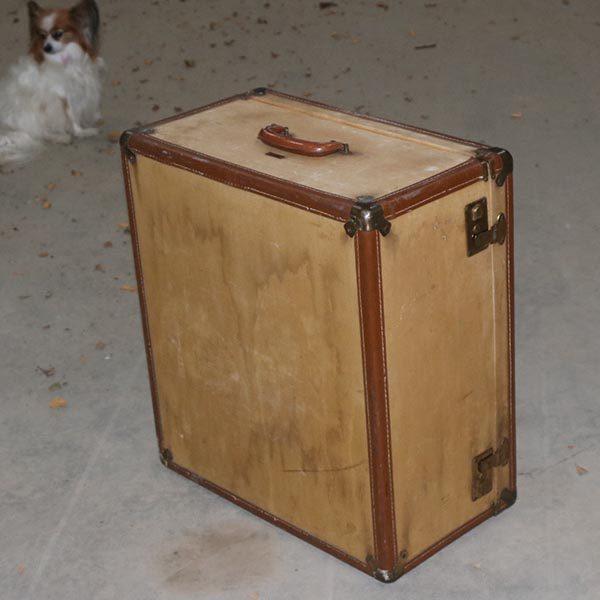 Stor kuffert til opbevaring - beige og læder 58x53x29 cm