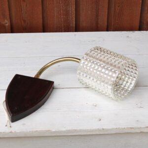 Retro væg lampe med palisanderlook og messing L16x10,5 cm - Lampeskærm 10x12 cm