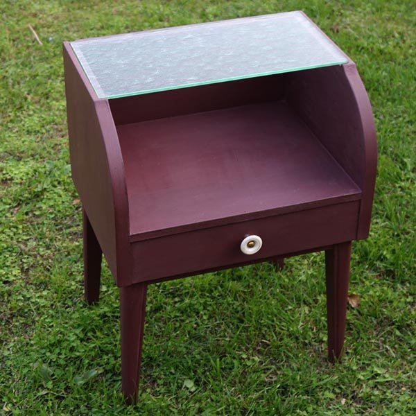Bordeau natbord - art deco stil - med glasbordplade og skuffe B42XD32xH56 cm