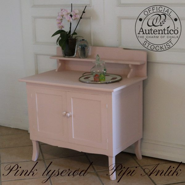 Toiletskab anretterbord i Lyserød Pink Autentico kalkmaling 80x48x90 cm