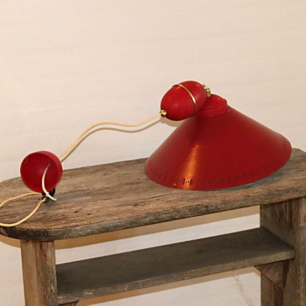 Rød svensk loftlampe Ø36 inkl hejsemekanik itu 36 cm