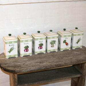 Retro hvidt grønt krydderisæt IMPORT svensk Moskau 21 cm H