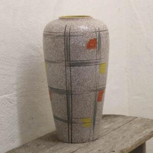 Stor svensk keramik gulvvase bunden Ø17,7x52 cm H, hullets Ø 13 cm
