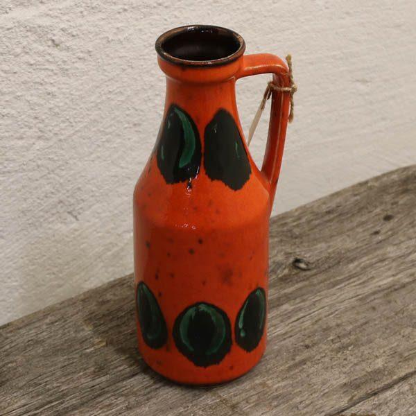 West Germany orange keramikvase med hank nr 6925 Ø9,5x25 cm H