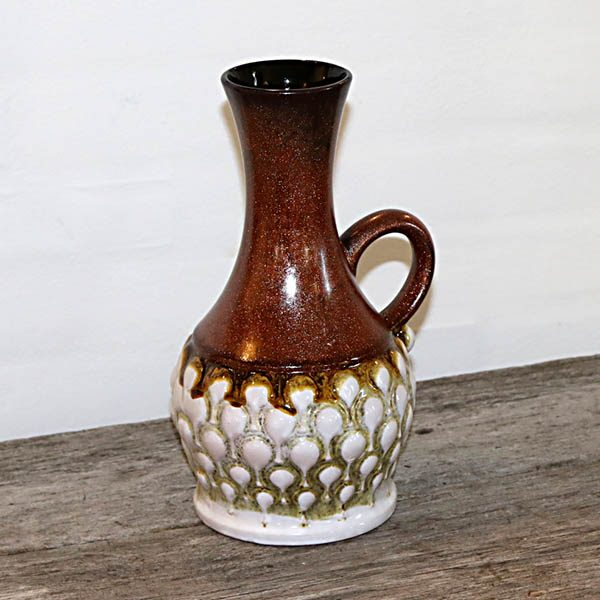 Retro West Germany keramikvase i brunt og hvidt nr 7385 Ø12x27 cm