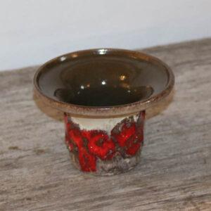 Retro bloklys lysestage i keramik orange GDR Ø11x8 cm