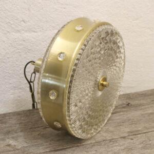 Orrefors loftlampe messinglook og glas Ø31x25 cm retr