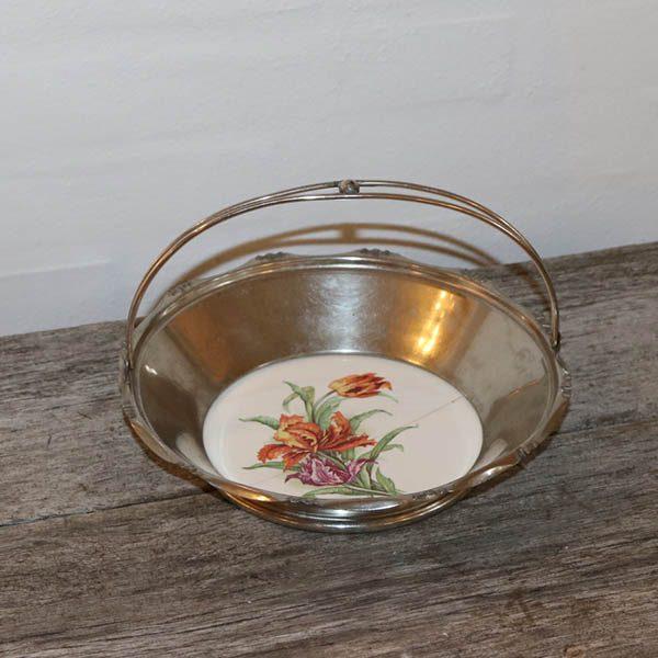Romantisk pletsølv skål med porcelænflise Ø23x6,5 cm