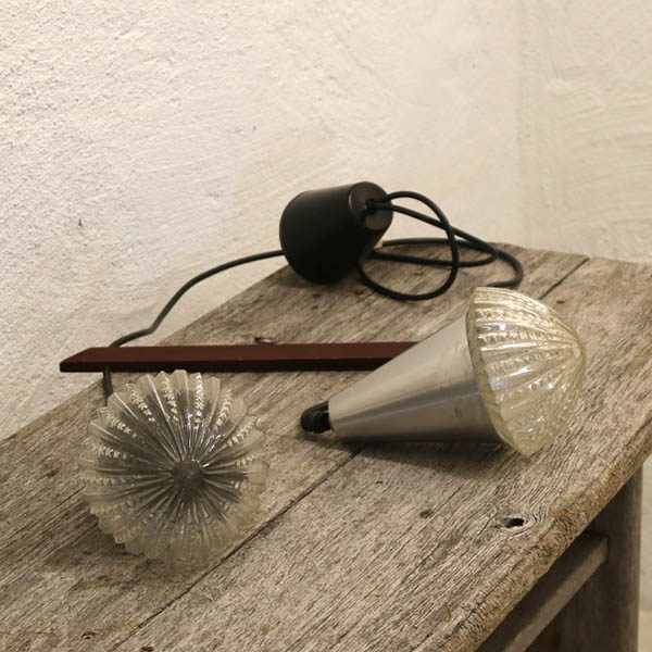 Retro teak aluminium glas loftlampe med teak stang Ø20x38 cm, lampeskærm 12 cm