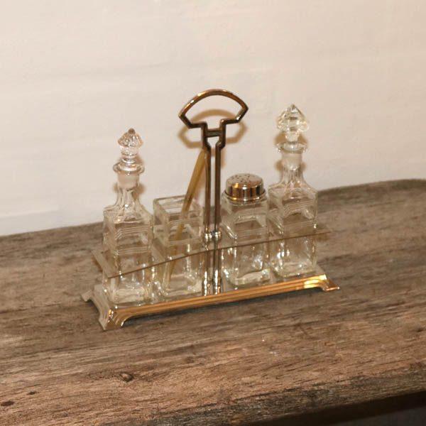 Art Deco stils bord krydderisæt i glas og krom L34x20,5 cm H