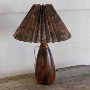 Keramik bordlampe retro meget tung Ø12x50 cm med lampeskærm