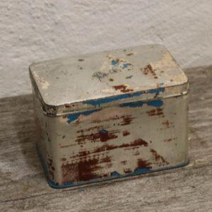 Dåse patineret blålig og aluminium 16x11x11 cm