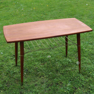 Teak sofabord slank med metal underhylde 94x50x58 cm