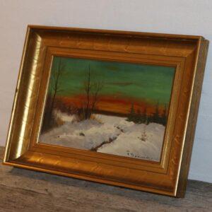 Maleri i guldramme Finn Dannerfjord 41x31x6 cm født 1941