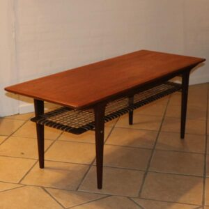 Teak sofabord dansk med palisanderben og underhylde i flet 138x53x53 cm H