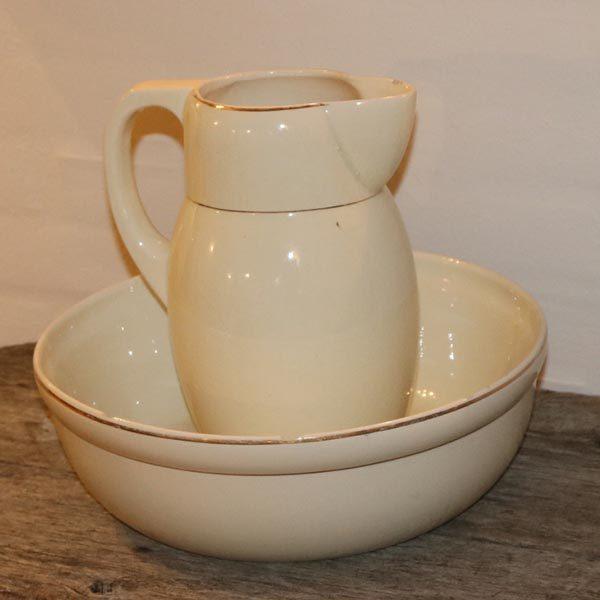 Servante sæt porcelæn råhvidt med guldkant Ø32x5 x 12 cm kanden 26 cm H