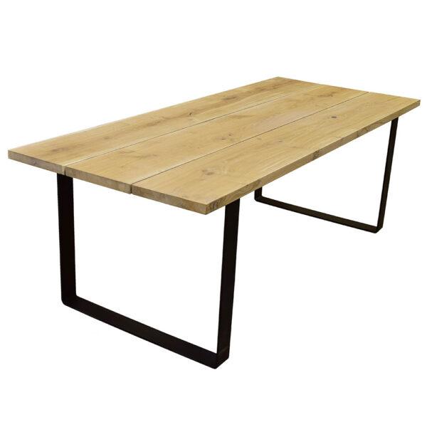 Egetræs plankebord sorte U metalben klar olie