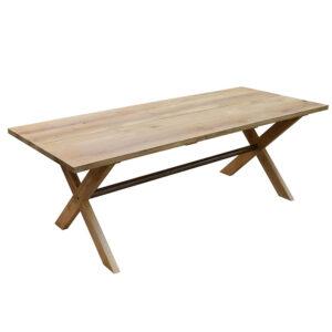 Egetræs blankebord med krydsben og stang