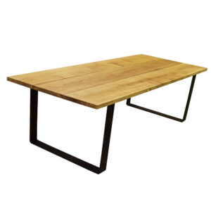 Egetræs plankebord sorte U metalben natur olie