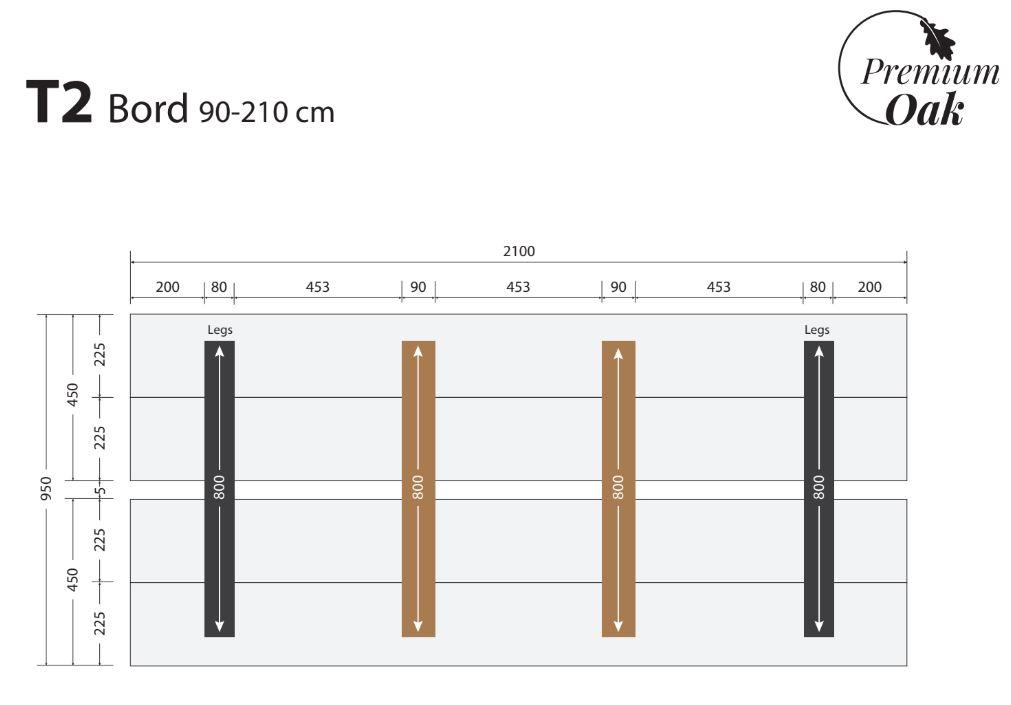 OAK plankebord 90x210 cm