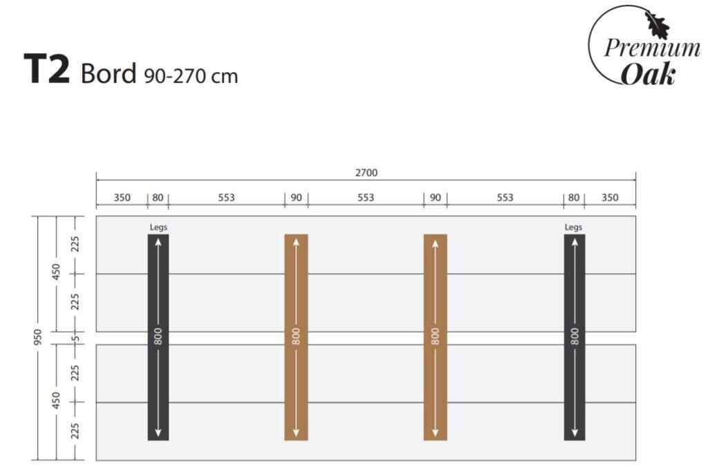 OAK plankebord 90x270 cm