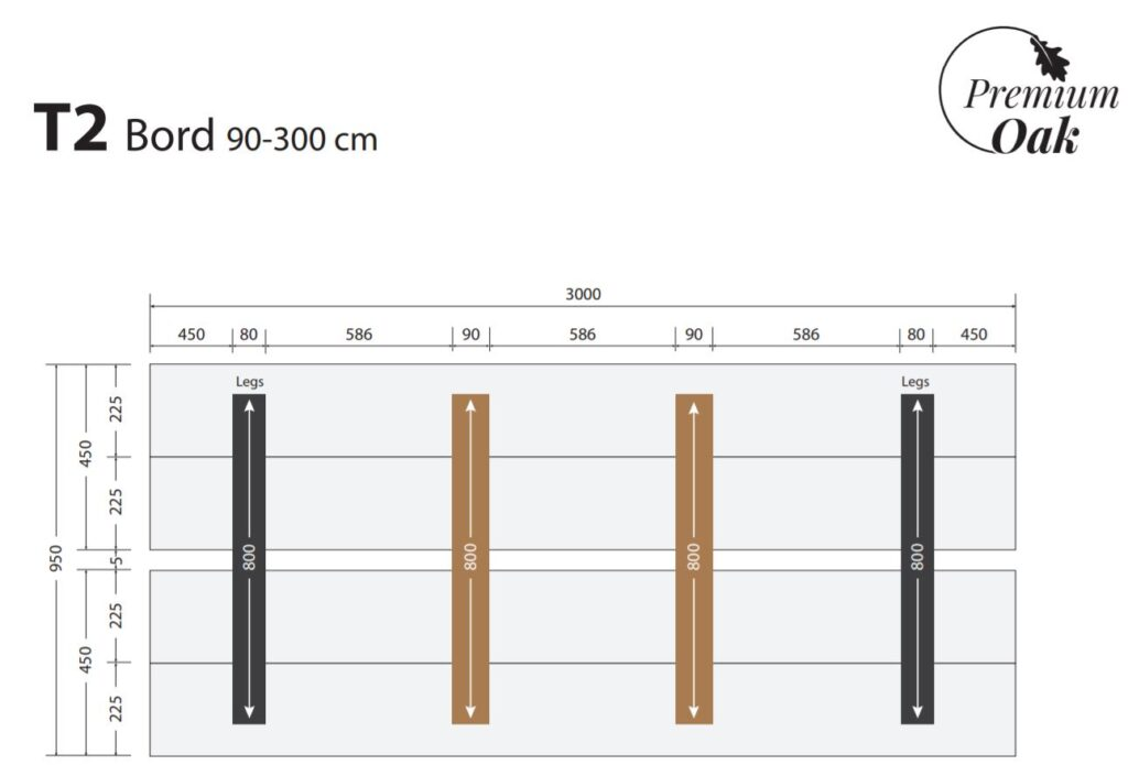 OAK plankebord 90x300 cm