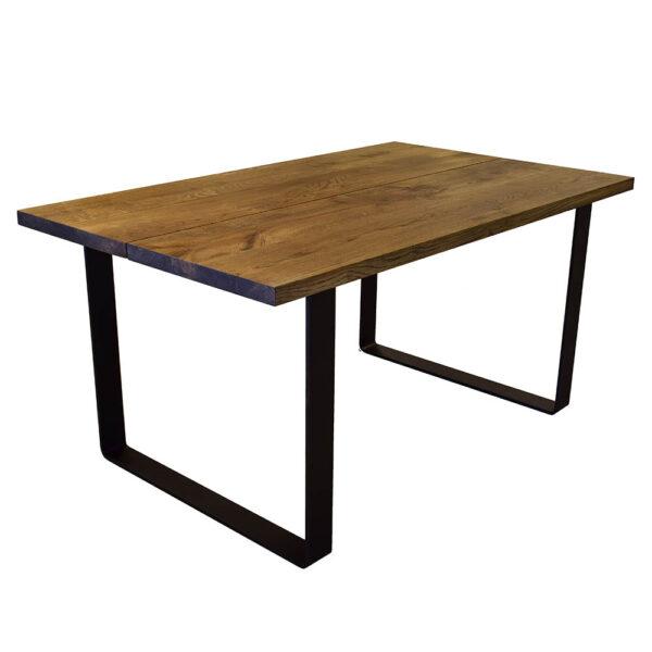 Egetræs plankebord sorte U metalben brun olie