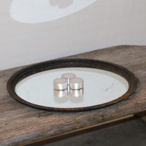 Komfurriste i metal med spejl Ø35x1,5 cm H