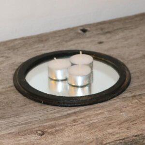 34 Komfurriste i metal med spejl Ø19x1,0 cm