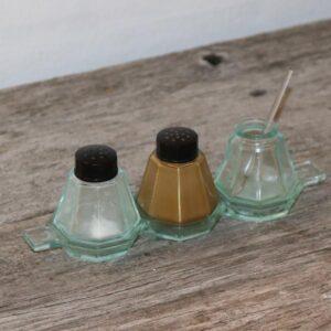 Retro grønt glas salt peber sennep L19x15,5x6,5 cm