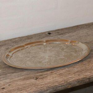 Sølvpletbakke med mønster L30x23 cm