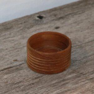 57 Mini teak skål med riller Ø15,5x4,5 cm