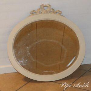Cremet spejl med guld sløjfe med facetslevet kant B67x66cm H