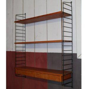Stringhylde retro lysere træsort orangetone 84x100x23cm D