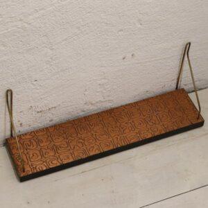 String hylde med kobber plade retro 49x12x20 cm H