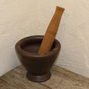 Keramik morter med hårdt træ Ø20x26 Teak 32 cm