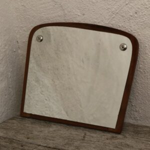 Teak retro spejl lille 31x26 cm